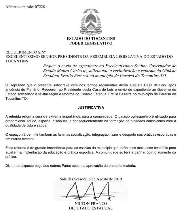 Nilton Franco, deputado que apoia o esporte, solicitou ao governo reforma de Ginásio de Paraíso