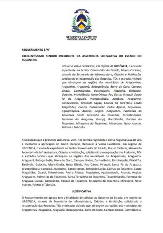 Requerimento apresentado no plenário da Aleto.